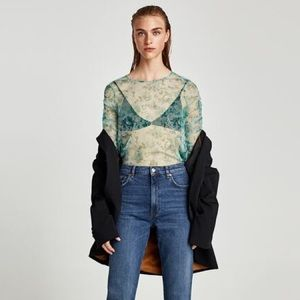 NWT Zara Green Floral Tulle Gathered Long Sleeve